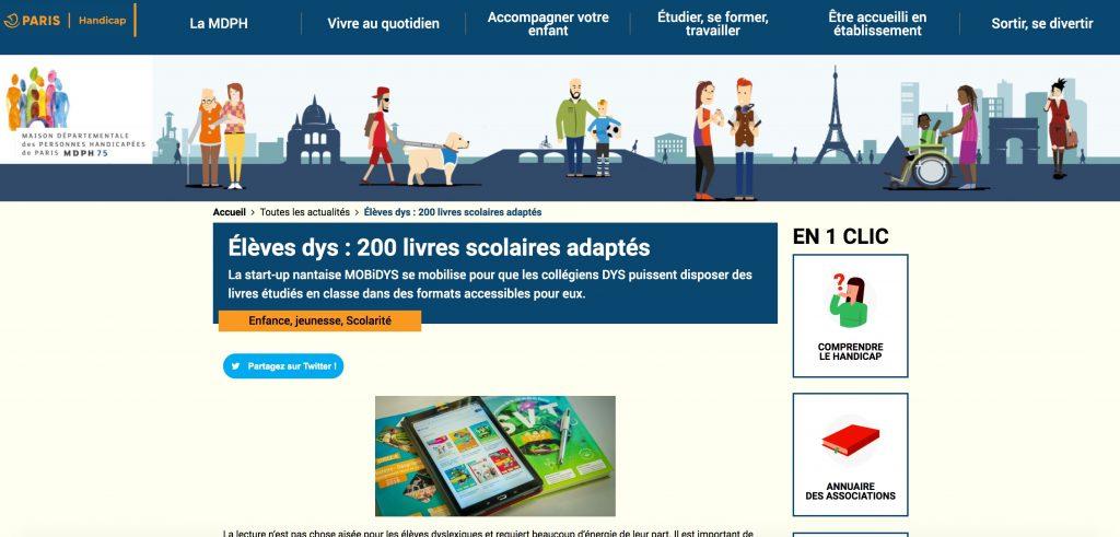 Sondo sur le site de la MDPH de Paris