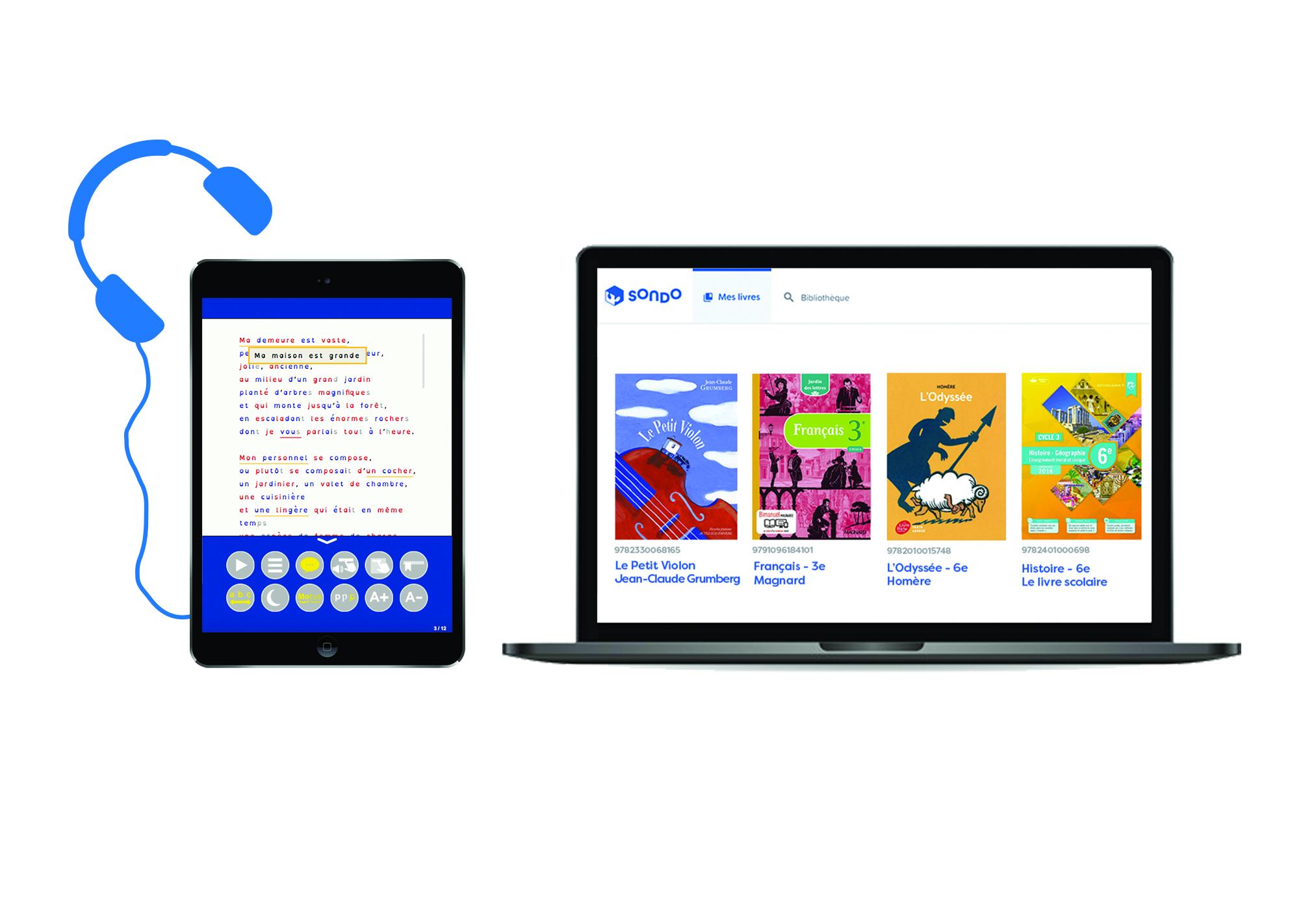 Bibliothèque inclusive audio et numérique SONDO sur tablette et ordinateur pour les élèves dys
